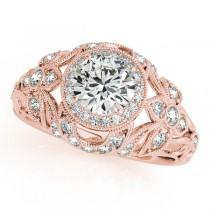 Edwardian Diamond Halo Engagement Ring Floral 18k Rose Gold 2.00ct