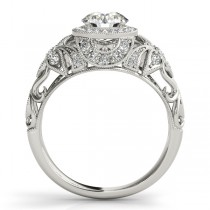 Edwardian Diamond Halo Engagement Ring Floral 18k White Gold 2.00ct