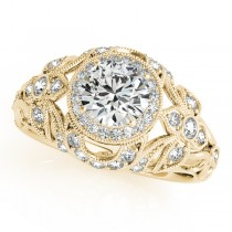 Edwardian Diamond Halo Engagement Ring Floral 18k Yellow Gold 2.00ct