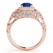 Edwardian Blue Sapphire & Diamond Halo Engagement Ring 14k R Gold (1.18ct)