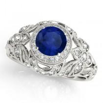 Edwardian Blue Sapphire & Diamond Halo Engagement Ring 14k W Gold (1.18ct)