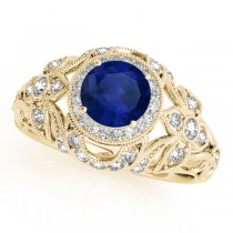 Edwardian Blue Sapphire & Diamond Halo Engagement Ring 14k Y Gold (1.18ct)