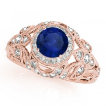 Edwardian Blue Sapphire & Diamond Halo Engagement Ring 18k R Gold (1.18ct)