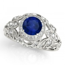 Edwardian Blue Sapphire & Diamond Halo Engagement Ring 18k W Gold (1.18ct)