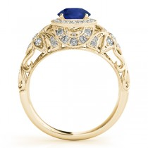 Edwardian Blue Sapphire & Diamond Halo Engagement Ring 18k Y Gold (1.18ct)
