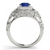 Edwardian Blue Sapphire & Diamond Halo Engagement Ring Palladium (1.18ct)