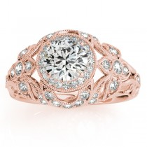 Edwardian Diamond Halo Engagement Ring Floral 14k Rose Gold (0.38ct)