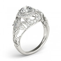 Edwardian Diamond Halo Engagement Ring Floral 14k White Gold (0.38ct)