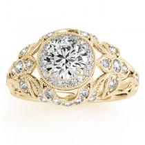 Edwardian Diamond Halo Engagement Ring Floral 14k Yellow Gold (0.38ct)