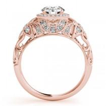 Edwardian Diamond Halo Engagement Ring Floral 18k Rose Gold (0.38ct)|escape