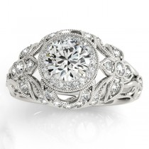 Edwardian Diamond Halo Engagement Ring Floral 18k White Gold (0.38ct)