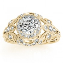 Edwardian Diamond Halo Engagement Ring Floral 18k Yellow Gold (0.38ct)