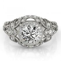 Edwardian Diamond Halo Engagement Ring Floral Palladium (0.38ct)