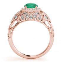 Edwardian Emerald & Diamond Halo Engagement Ring 14k R Gold (1.18ct)