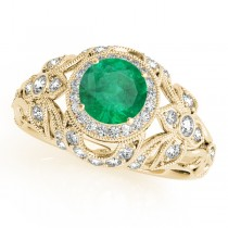 Edwardian Emerald & Diamond Halo Engagement Ring 14k Y Gold (1.18ct)