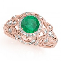 Edwardian Emerald & Diamond Halo Engagement Ring 18k R Gold (1.18ct)
