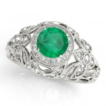 Edwardian Emerald & Diamond Halo Engagement Ring 18k W Gold (1.18ct)