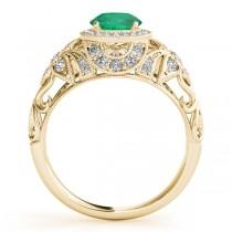 Edwardian Emerald & Diamond Halo Engagement Ring 18k Y Gold (1.18ct)