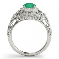 Edwardian Emerald & Diamond Halo Engagement Ring Palladium (1.18ct)