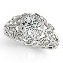 Edwardian Diamond Halo Engagement Ring Floral Palladium 1.18ct