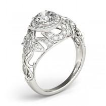 Edwardian Diamond Halo Engagement Ring Floral Palladium 1.18ct