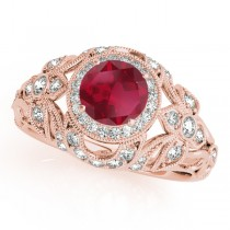 Edwardian Ruby & Diamond Halo Engagement Ring 14k R Gold (1.18ct)