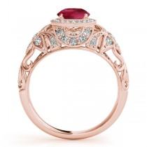 Edwardian Ruby & Diamond Halo Engagement Ring 14k R Gold (1.18ct)