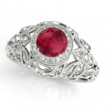 Edwardian Ruby & Diamond Halo Engagement Ring 14k W Gold (1.18ct)
