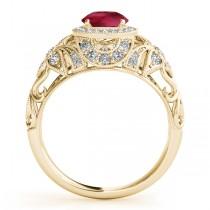 Edwardian Ruby & Diamond Halo Engagement Ring 14k Y Gold (1.18ct)