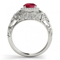 Edwardian Ruby & Diamond Halo Engagement Ring 18k W Gold (1.18ct)