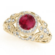 Edwardian Ruby & Diamond Halo Engagement Ring 18k Y Gold (1.18ct)