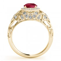 Edwardian Ruby & Diamond Halo Engagement Ring 18k Y Gold (1.18ct)