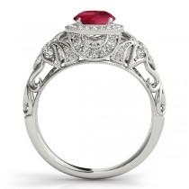 Edwardian Ruby & Diamond Halo Engagement Ring Palladium (1.18ct)