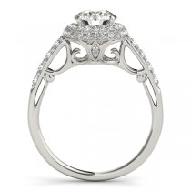 Cathedral Double Halo Diamond Engagement Ring 14k White Gold (1.50ct)