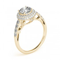 Cathedral Double Halo Diamond Engagement Ring 14k Yellow Gold (1.50ct)