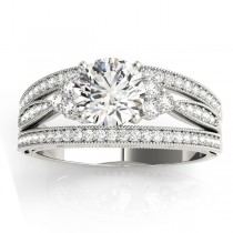 Diamond Three Row Split Shank Engagement Ring 14k White Gold (0.42ct)