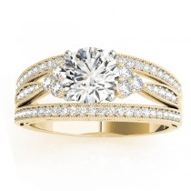 Diamond Three Row Split Shank Engagement Ring 14k Yellow Gold (0.42ct)