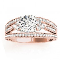 Diamond Three Row Split Shank Engagement Ring 18k Rose Gold (0.42)