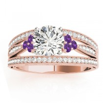 Diamond & Amethyst Three Row Engagement Ring 14k Rose Gold (0.42ct)