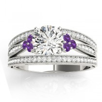 Diamond & Amethyst Three Row Split Shank Engagement Ring 14k White Gold(0.42ct)