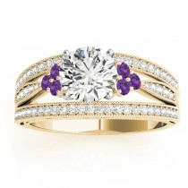 Diamond & Amethyst Three Row Engagement Ring 18k Yellow Gold (0.42ct)