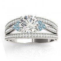 Diamond & Aquamarine Three Row Split Shank Engagement Ring 14k White Gold(0.42ct)
