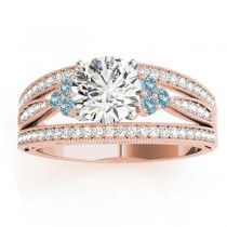 Diamond & Aquamarine Three Row Split Shank Engagement Ring 18k Rose Gold (0.42)