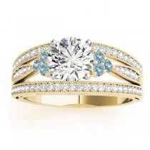 Diamond & Aquamarine Three Row Engagement Ring 18k Yellow Gold (0.42ct)