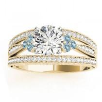 Diamond & Aquamarine Three Row Split Shank Engagement Ring 18k Yellow Gold (0.42ct)