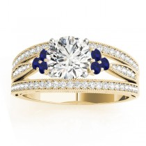 Diamond & Blue Sapphire Three Row Engagement Ring 14k Yellow Gold (0.42ct)