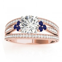 Diamond & Blue Sapphire Three Row Engagement Ring 18k Rose Gold (0.42)
