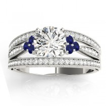 Diamond & Blue Sapphire Three Row Split Shank Engagement Ring 18k White Gold (0.42ct)