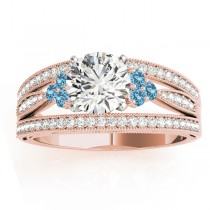 Diamond & Blue Topaz Three Row Split Shank Engagement Ring 14k Rose Gold (0.42ct)