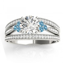 Diamond & Blue Topaz Three Row Split Shank Engagement Ring 14k White Gold(0.42ct)